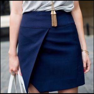 J. Crew Faux Wrap Navy Skirt
